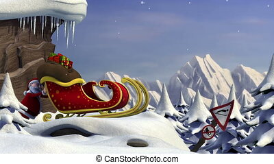 Santa's sleigh jump - Cartoon Santa Claus using a ski jump ...