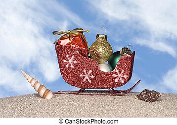 Santa's sleigh on the beach