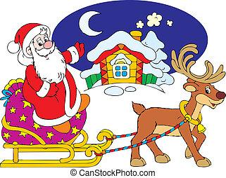 Santa's sleigh - Santa Claus in his sleigh pulling by...