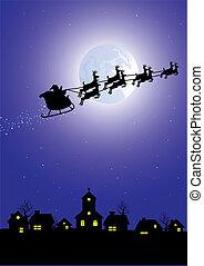 santa's sleigh - Silhouette of santa in his sleigh flying...
