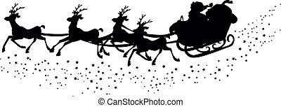 santa?s, sleigh, silueta