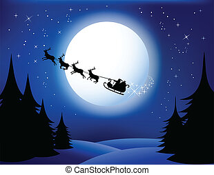 Santa`s sleigh - vector. All elements are grouped in layers....