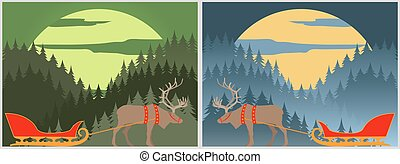 Santa`s sleigh with north deer. Lapland. Winter forest landscape