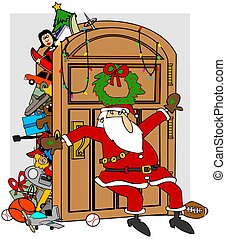 Santa's stuffed closet - This illustration depicts Santa...