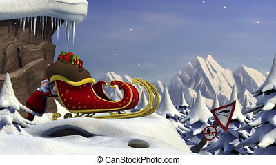 3d animated short film about Santa Claus trying to take off with his sleigh - usable as a humorous e-card - with Christmas greetings in the end