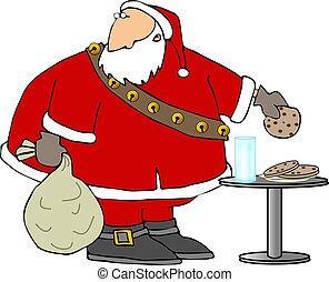 Santas treats - This illustration depicts Santa eating ...