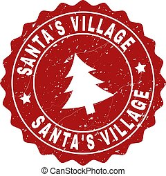 SANTA'S VILLAGE Grunge Stamp Seal with Fir-Tree
