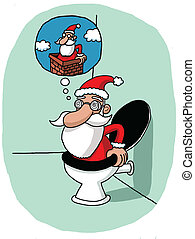 Santa's vision problem - Santa climbs down the toilet...