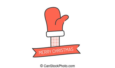 Santa's waving hand in a red mitten. Merry Christmas and...