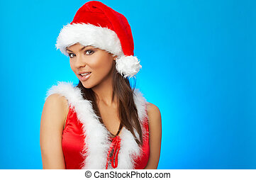 Santas Wife - 20-25 years olf beautiful woman in Santa Claus...