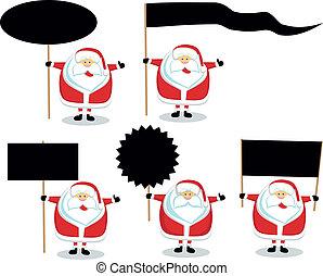 Santas with blank signs - Cartoon Santas holding different...