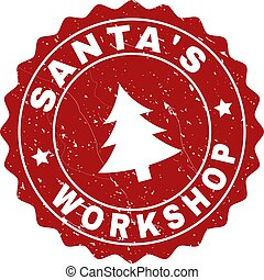 SANTA'S WORKSHOP Grunge Stamp Seal with Fir-Tree