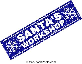 SANTA'S WORKSHOP Scratched Rectangle Stamp Seal with Snowflakes