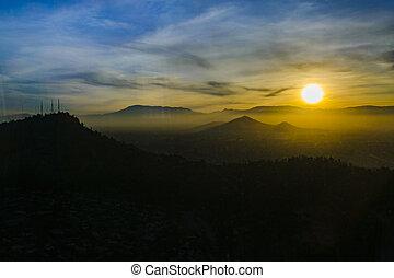 santiago, antenn, av, scen, solnedgång, chile, synhåll