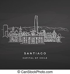 Santiago Chile famous buildings drawing on blackboard