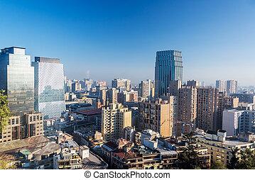 Santiago, Chile Skyline - View of the skyline of Santiago,...