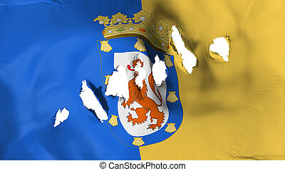 Santiago city flag perforated, bullet holes - Santiago city,...