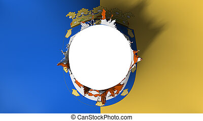 Santiago city flag ripped apart - Santiago city, capital of...