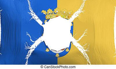 Santiago city flag with a hole - Santiago city, capital of...