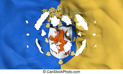 Santiago city flag with a small holes - Santiago city,...