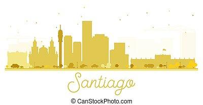 Santiago City skyline golden silhouette.
