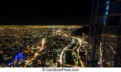 Santiago de Chile city night time lapse with highway sky...