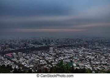 Santiago de Chile city ultra long exposure