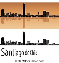 Santiago de Chile skyline in orange background in editable...