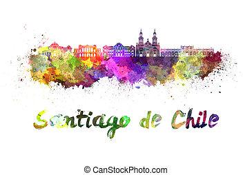 Santiago de Chile skyline in watercolor splatters with...
