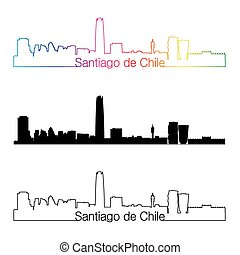 Santiago de Chile skyline linear style with rainbow in ...