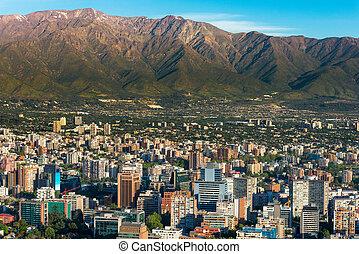 Santiago de Chile - Panoramic view of Santiago de Chile and...