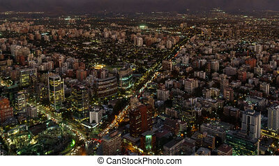 Santiago de Chile sunset time lapse, top view - Top view...