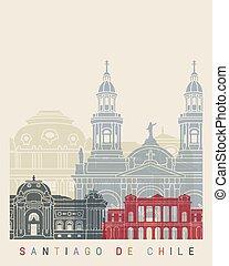 Santiago de Chile V2 skyline poster
