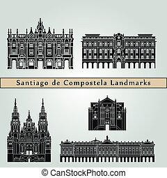 Santiago de Compostela landmarks and monuments isolated on blue background in editable vector file