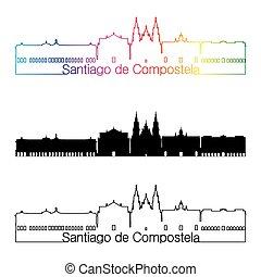 Santiago de Compostela skyline linear style with rainbow in...