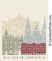 Santiago de Compostela skyline poster