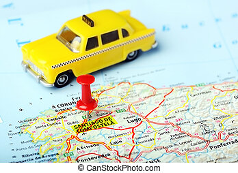 Santiago de Compostela ,Spain map taxi - Santiago de...
