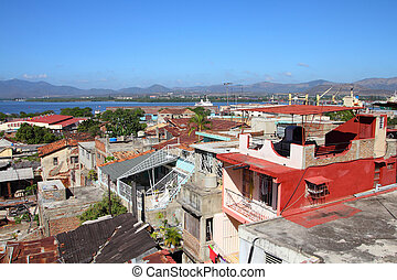 Santiago de Cuba - aerial view with the sea
