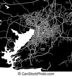 Santiago de Cuba One Color Map, Vector Outline Version,...