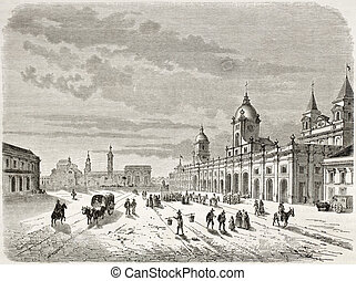 Santiago old view. Created by Lancelot after Claude Gay...