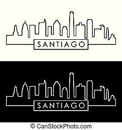 Santiago skyline. Linear style. Editable vector file.