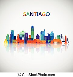 Santiago skyline silhouette in colorful geometric style.