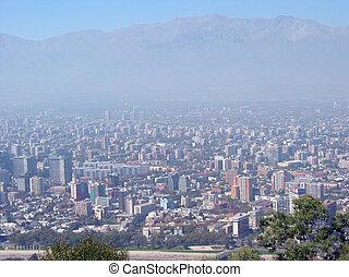 santiago, sopra, spesso, cile, smog