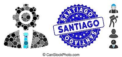 santiago, textured, trabalhador, ícone, colagem, selo