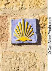 Santiago tile - Ceramic tile with a shell that indicates the...