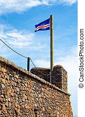 santiago, viejo, cabo, cidade, -, velha, bandera, verde,...