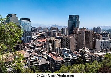 Santiago view from Santa Lucia hill. - View of Santiago,...