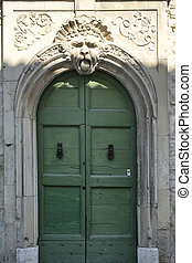 Sant'Ippolito (Fossombrone, Marches): door of historic palace