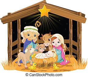 santissimo, família, em, natal, noturna