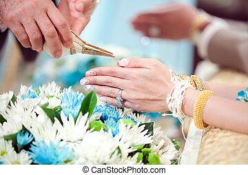 santissimo, noiva, anciões, mão, água, cultura, tailandês, recebendo